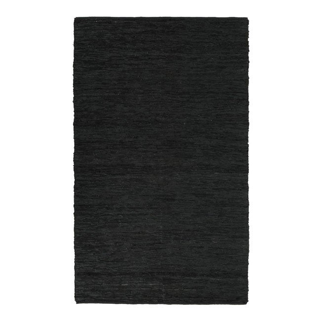 Hand-woven Chindi Black Leather Rug (4' x 6')