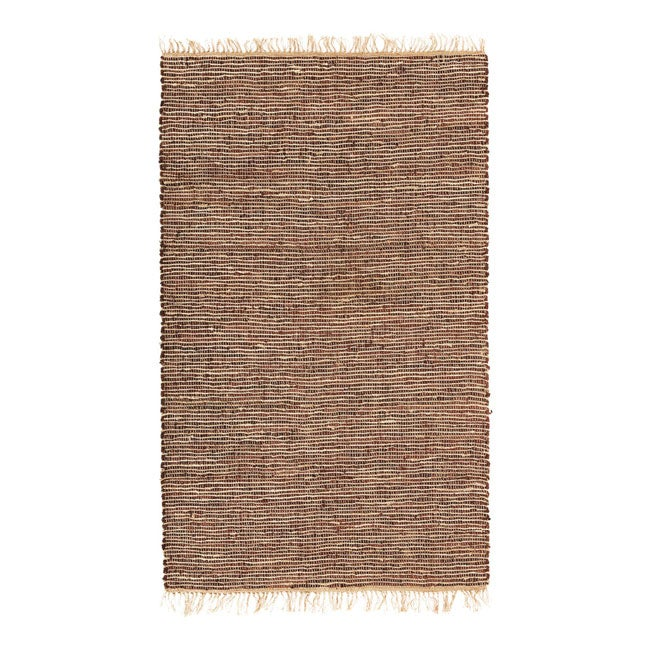 Hand-woven Brown Leather/ Hemp Rug (4' x 6') - Thumbnail 0