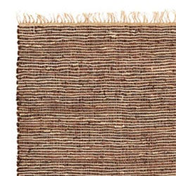 Hand-woven Brown Leather/ Hemp Rug (4' x 6') - Thumbnail 2