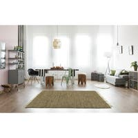 Hand-woven Brown Leather/ Hemp Rug (4' x 6') - 4' x 6'