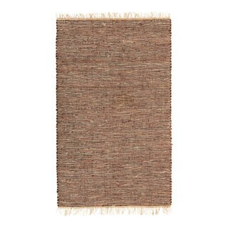 Hand-woven Brown Leather/ Hemp Rug (5' x 8')