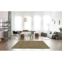 Hand-woven Brown Leather/ Hemp Rug (5' x 8') - 5' x 8'