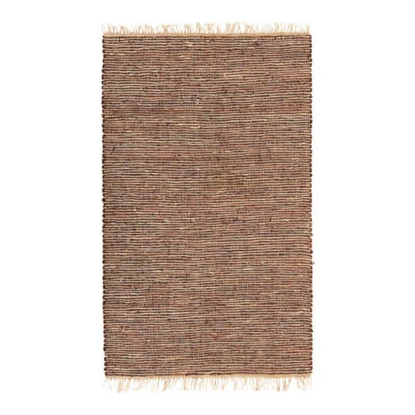 Hand-woven Brown Leather/ Hemp Rug (8' x 10')