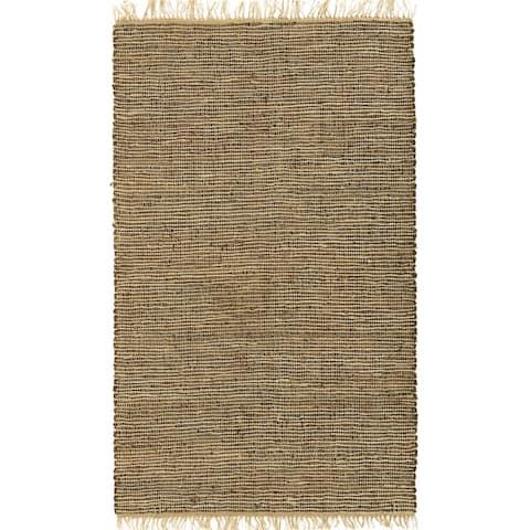 Brown Matador Leather Hemp Rug