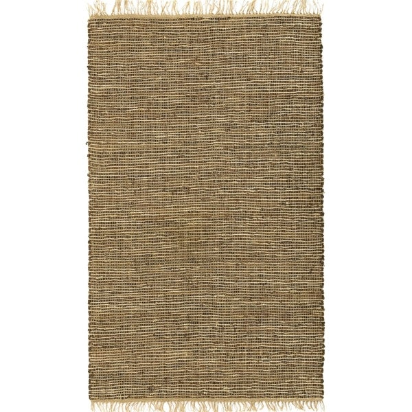 Hand-woven Brown Leather/ Hemp Rug (8' x 10') - 8' x 10'