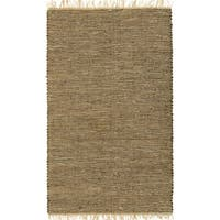 Hand-woven Brown Leather/ Hemp Rug - 8' x 10'