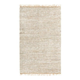 Hand-woven White Leather/ Hemp Rug (8' x 10')
