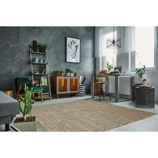 Hand-woven White Leather/ Hemp Rug (8' x 10')|https://ak1.ostkcdn.com/images/products/1777767/P10134435.jpg?impolicy=medium