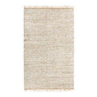 Hand-woven White Leather/ Hemp Rug (5' x 8') - 5' x 8'