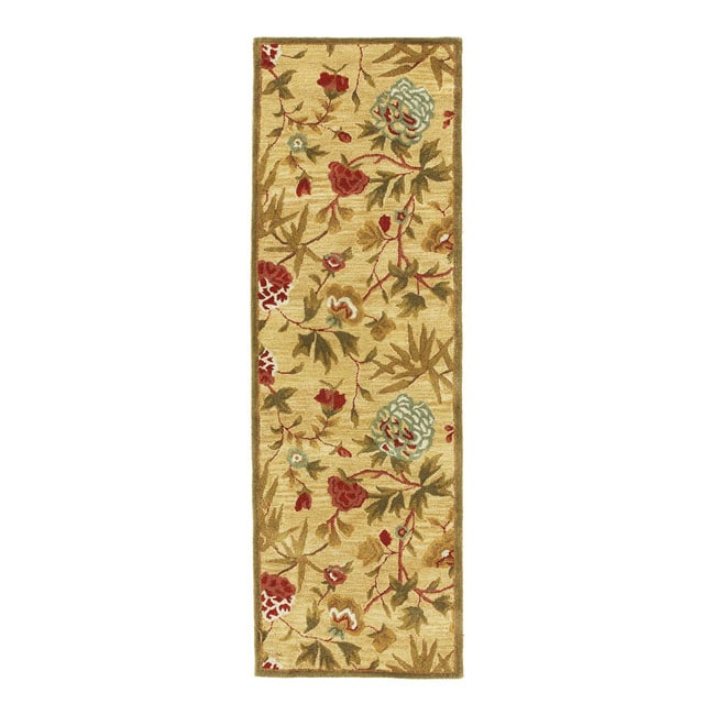 Rug Runner Gold: Hand-tufted Transitional Gold Wool Runner Rug (2'5 X 8