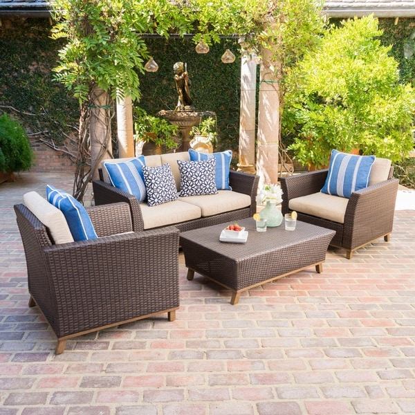 Glenwood Outdoor Wicker Aluminum Chat Set with Cushion by Christopher Knight Home