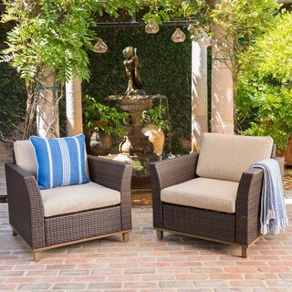 Glenwood Outdoor Wicker Aluminum Club Chair with Cushion (Set of 2) by Christopher Knight Home