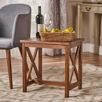Kolbie Square Farmhouse Acacia Wood End Table by Christopher Knight Home