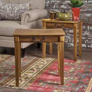 Orson Square Acacia Wood End Table (Set of 2) by Christopher Knight Home