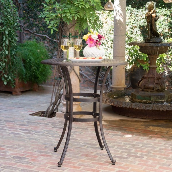 Alfresco Outdoor 37 Inch Cast Aluminum Round Bar Table With Umbrella Hole By Christopher Knight