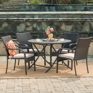 Lula Outdoor 5-Piece Round Foldable Wicker Dining Set with Umbrella Hole & Cushions by Christopher Knight Home
