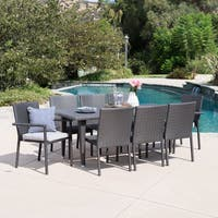 Grady Outdoor 9-piece Rectangular Wicker Dining Set with Cushions by Christopher Knight Home