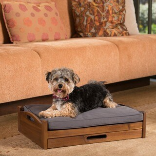 Franz Mid Century Modern Rectangle Acacia Wood Dog Bed with Storage by Christopher Knight Home