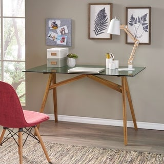 Camila Mid-Century Acacia Wood Desk with Tempered Glass Top by Christopher Knight Home