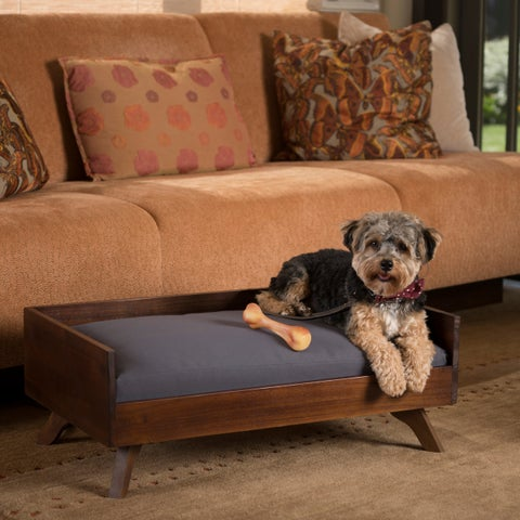 Christopher Knight Home Doran Mid-century Dark Grey / Dark Oak Acacia Wood Rectangle Dog Bed