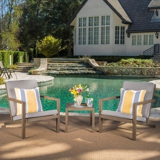 Leah Outdoor 3-piece Acacia Wood Chat Set with Cushions by Christopher Knight Home