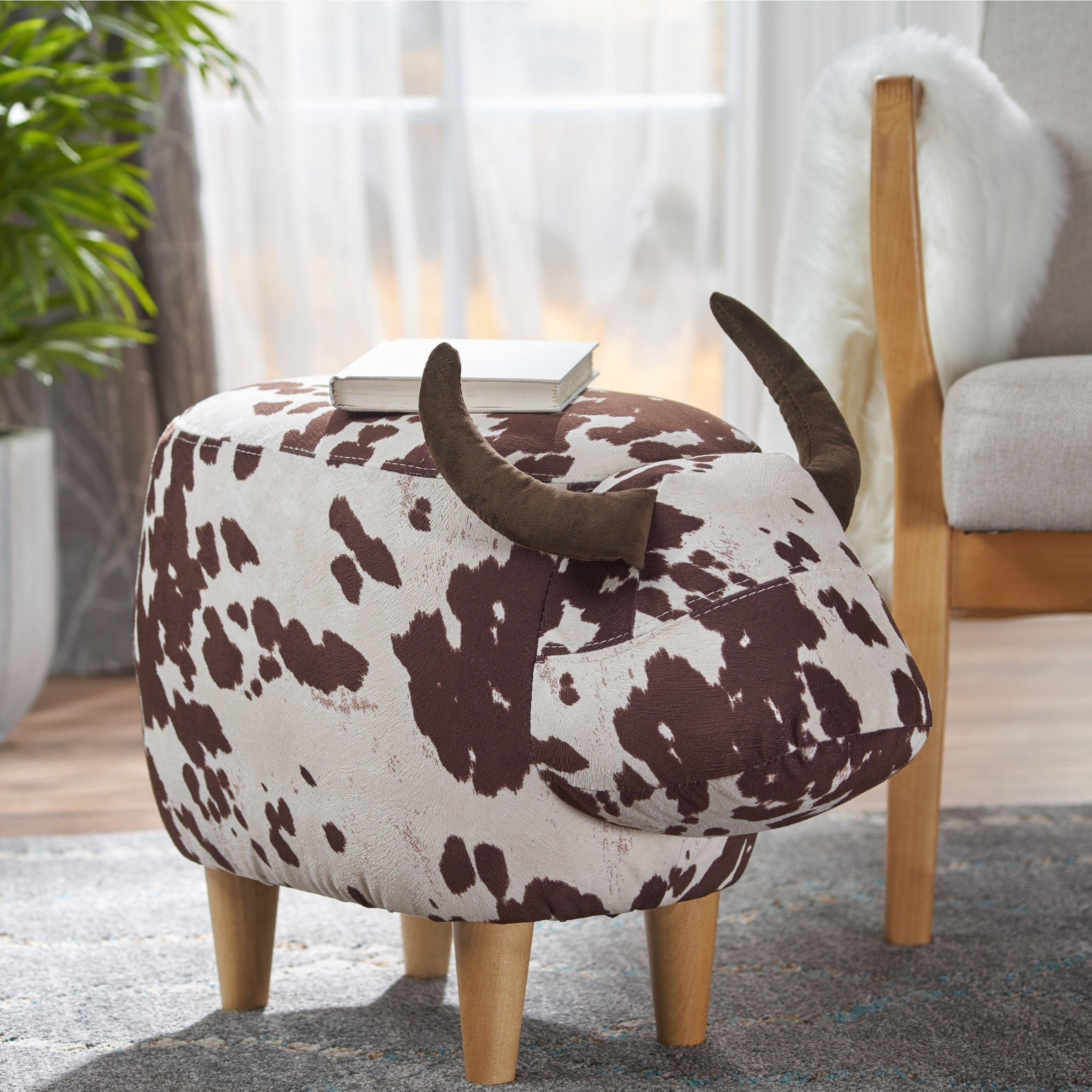 Astonishing Bessie Fabric Cow Patterned Ottoman By Christopher Knight Home Dailytribune Chair Design For Home Dailytribuneorg