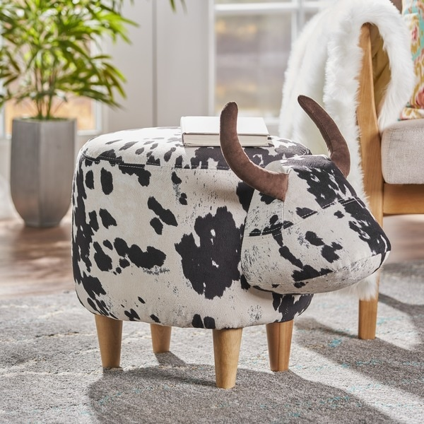 Bessie Velvet Cow Patterned Ottoman by Christopher Knight Home