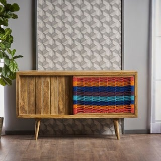 Freya Mango Wood Sideboard Buffet Cabinet with Sliding Door by Christopher Knight Home