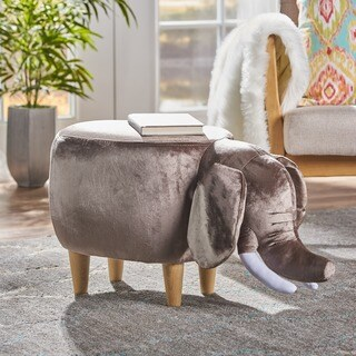 Rosie Velvet Elephant Ottoman by Christopher Knight Home