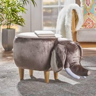 Rosie Velvet Elephant Ottoman by Christopher Knight Home