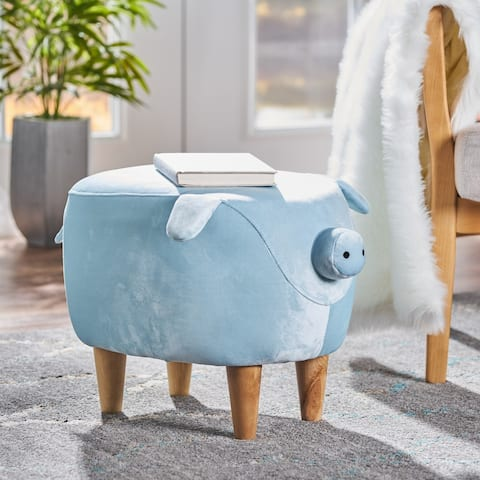 Burton Velvet Pig Ottoman by Christopher Knight Home
