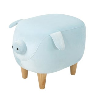 Christopher Knight Home Burton Velvet Fabric/Birchwood Pig Ottoman (Option: Light Blue)