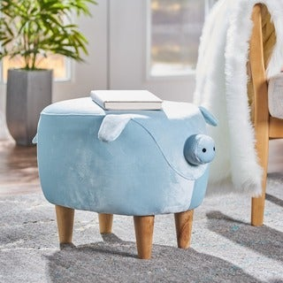 Christopher Knight Home Burton Velvet Fabric/Birchwood Pig Ottoman