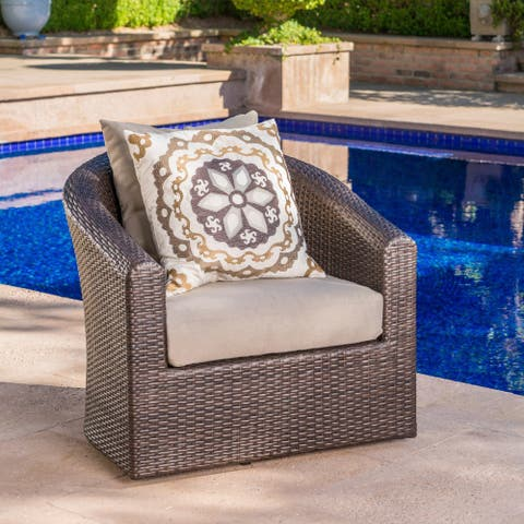 Darius Outdoor Wicker Aluminum Swivel Club Chair with Cushion by Christopher Knight Home