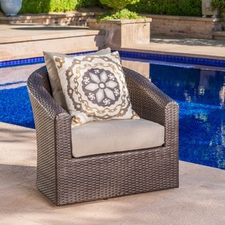 Link to Darius Outdoor Wicker Aluminum Swivel Club Chair with Cushion by Christopher Knight Home Similar Items in Patio Chairs