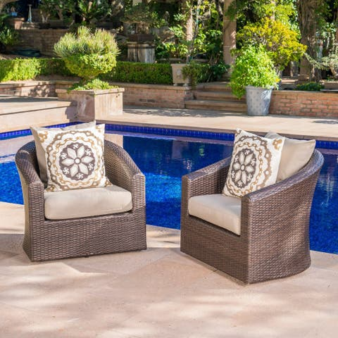 Darius Outdoor Wicker Aluminum Swivel Club Chair with Cushion (Set of 2) by Christopher Knight Home