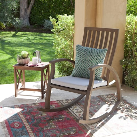 Cayo Outdoor Acacia Wood Rocking Chair with Cushion by Christopher Knight Home
