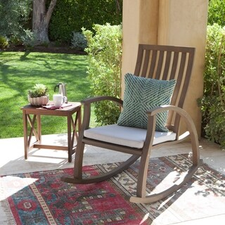 Cayo Outdoor Acacia Wood Rocking Chair with Cushion by Christopher Knight Home (2 options available)