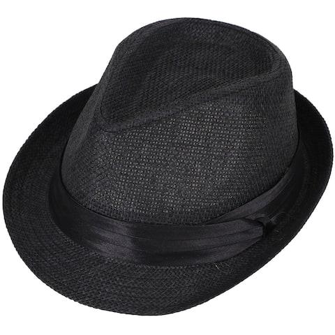 Simplicity Women Men Summer Double Colors Straw Fedora Hat w/ Rasta Band