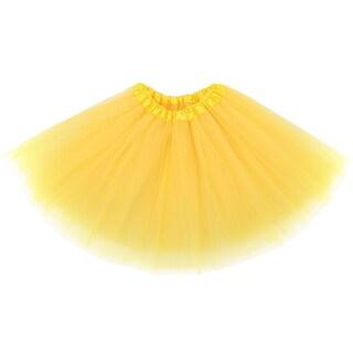 Simplicity Women's 3-Layered Tulle Fiber Classic Elastic Ballet Tutu (Option: Yellow)