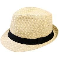 Simplicity Unisex Summer Woven Straw Fedora Hat & Hat Band