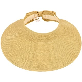 Simplicity Women's Summer Foldable Straw Sun Visor w/ Cute Bowtie