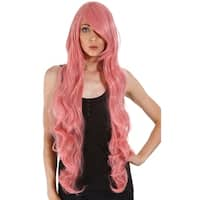 Simplicity Women's Long Curly Costume Wig with Included Wig Cap - Pink 40
