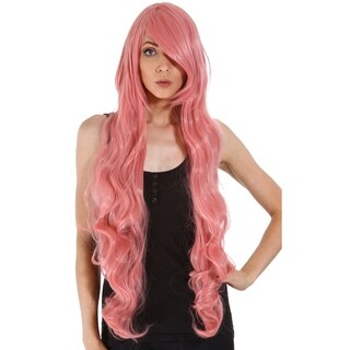 Simplicity Women's Long Curly Costume Wig with Wig Cap Pink 40