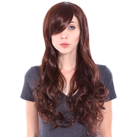 Simplicity Women's Long Curly Auburn/Dark Brown Cosplay Wig