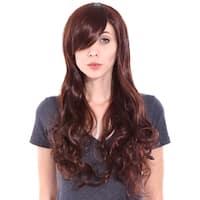 Simplicity Women's Long Curly Auburn/Dark Brown Cosplay Wig