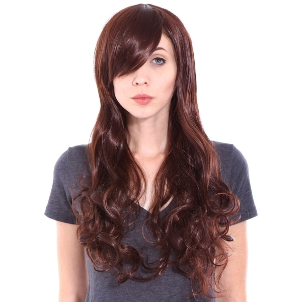 Shop Simplicity Women s Long Curly Auburn Dark Brown Cosplay Wig - Free  Shipping On Orders Over  45 - Overstock - 17779670 5bd6c15143