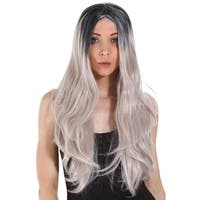Gardinesca Long Straight Two Tone Black and Grey Ombre Full Hair Wig