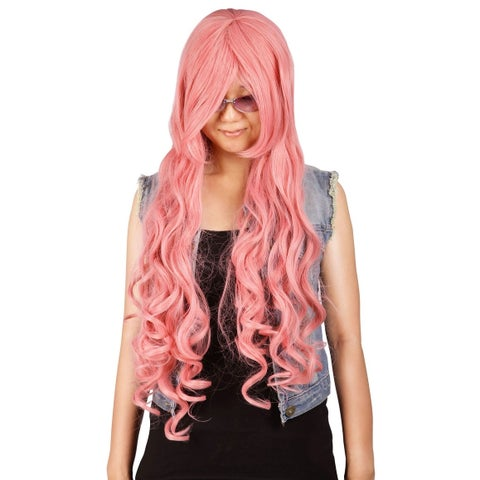Simplicity Women's Curly Halloween Party Cosplay Wig - Pink