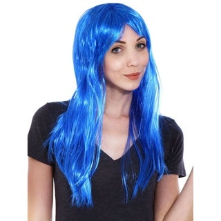 Simplicity Women's Daily Wear and Costume Wig Blue Straight